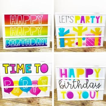 Birthday Light Box Inserts- Heidi Swapp or Leisure Arts