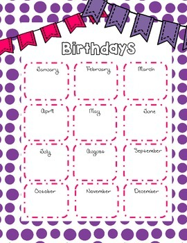 Birthday List for the Classroom