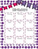 Birthday List for the Classroom