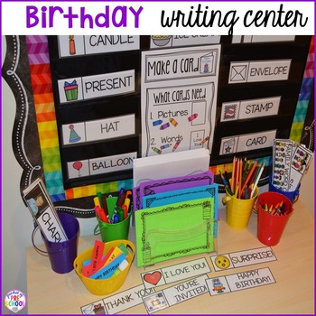 Birthday Math and Literacy Centers for Preschool, Pre-K, and Kindergarten