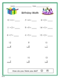 Birthday Math with addition and subtraction problems -primary