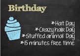 Birthday Menu-Chalkboard theme