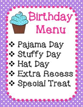 Birthday Menu- FREE!
