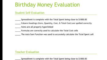 Birthday Money Spreadsheet Lesson