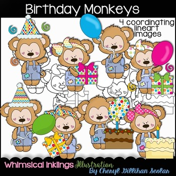 Birthday Monkeys Clipart Collection