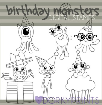 Birthday Monsters Black Line Clip Art