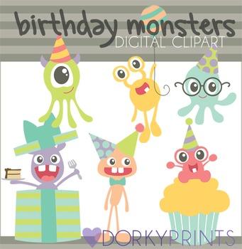 Birthday Monsters Digital Clip Art