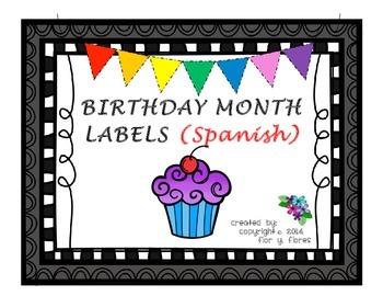 Birthday Month Labels (Spanish)