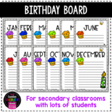 Birthday Months Display - Middle School and High School