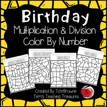 birthday multiplication and division color by number by tchrbrowne. Black Bedroom Furniture Sets. Home Design Ideas
