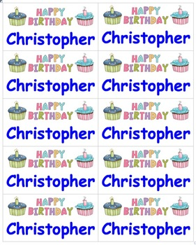 birthday name labels happy birthday type in names comic sans font