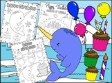 Birthday Narwhal - The Crayon Crowd Coloring Pages, Narwhals