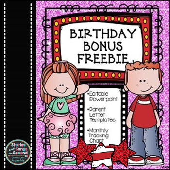Birthday Newsletters and Monthly Charts-Editable {FREE}