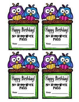Birthday No Homework Pass