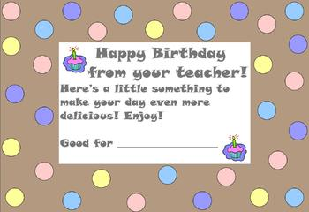 Birthday Notes to Students