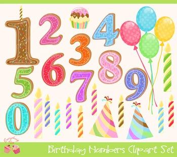 Birthday Numbers Clip Art Set