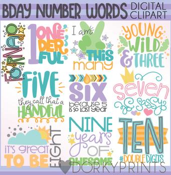 Birthday Numbers Word Art Digital Clip Art