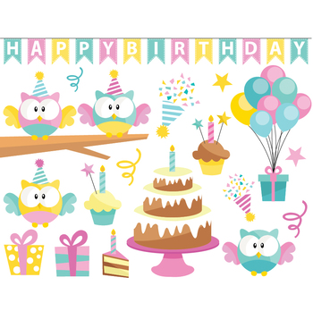 Birthday Owl Clipart Set - Instant Download
