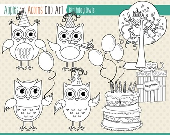 Birthday Owls Clip Art - color and outlines