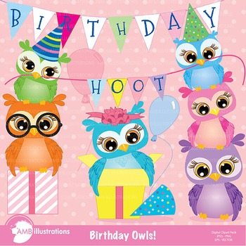 Birthday Clipart, Owls Clipart, AMB-268