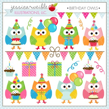 Birthday Owls Cute Digital Clipart, Owl Party Graphics