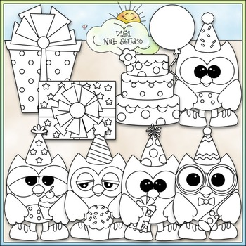 Birthday Owls Clip Art - Birthday Clip Art - Party Clip Art - CU Clip Art & B&W