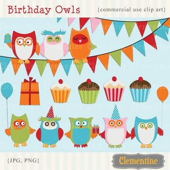 Birthday Owls clip art