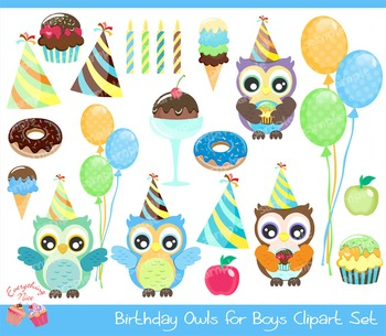 Birthday Owls for Boys Clipart Set