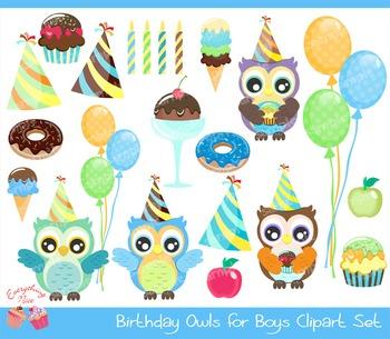 Birthday Owls for Boys Clipart Set