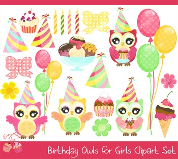 Birthday Owls for Girls Clipart Set