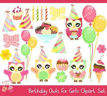 Birthday Owls for Girls Clipart Set