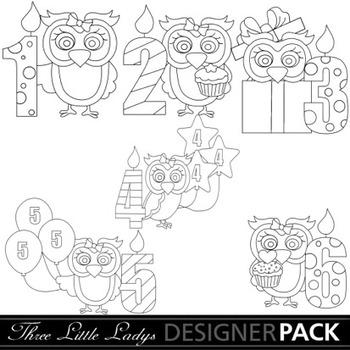 Birthday Owls with Candles line Art