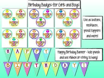 Birthday Pack - Chevron and Owls
