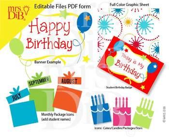 Classroom Celebration - Birthday Pack ** ORIGINAL ARTWORK