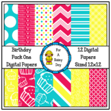 Birthday Pack One Digital Papers (Pink, Blue, & Yellow)
