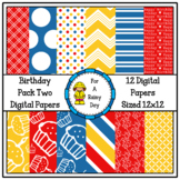 Birthday Pack Two Digital Papers (Red, Blue, & Yellow)