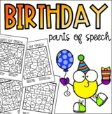 Birthday Parts of Speech Coloring