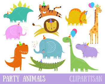 Dinosaurs Clip Art, Party Animals