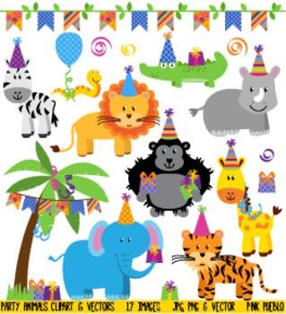 Birthday Party Animals Clipart Clip Art, Zoo Jungle Safari Animals