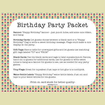 Birthday Party - Banner, Gift Tags, Water Bottle Labels, and more!