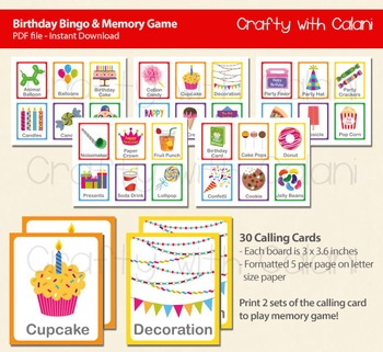 Birthday Party Bingo & Memory Game, 2 in 1 Birthday party Games