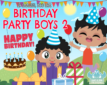 Birthday Party Boys 2 Clipart Instant Download Vector Art