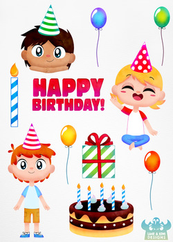 Birthday Party Boys 3 Watercolor Clipart Instant Download Vector Art