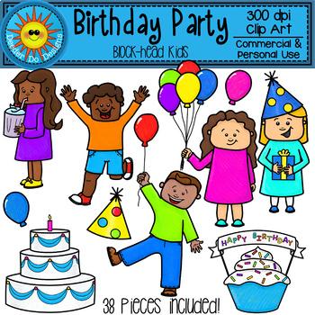 Birthday Party Clip Art (Block-Head Kids)