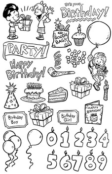 Birthday Party Clip Art Pack: 66 PNG Images for Commercial Use