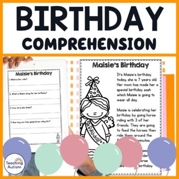 Birthday Party Reading Comprehension Passages and Questions