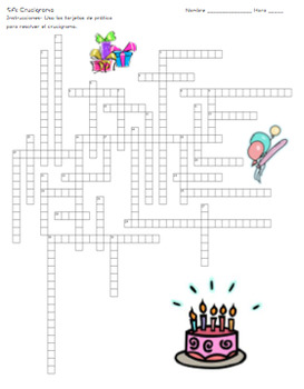 Birthday Party Crossword Puzzle (Realidades 1/B Ch.5A)