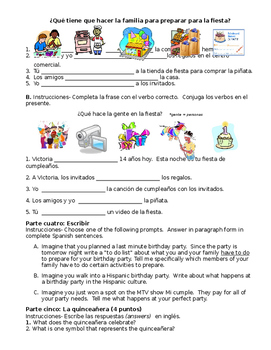 Birthday Party Final Exam (Realidades 1/B Ch. 5A)