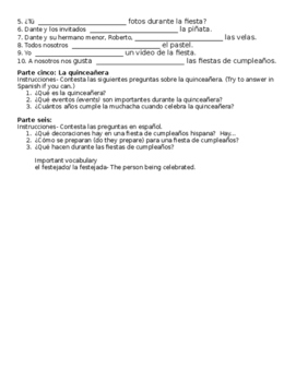 Birthday Party Final Exam Study Guide (Realidades 1/B Ch.5A)