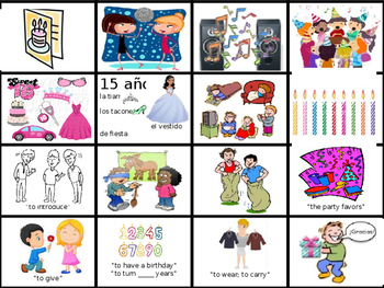 Birthday Party Flash Cards (Realidades 1/B Ch.5A)